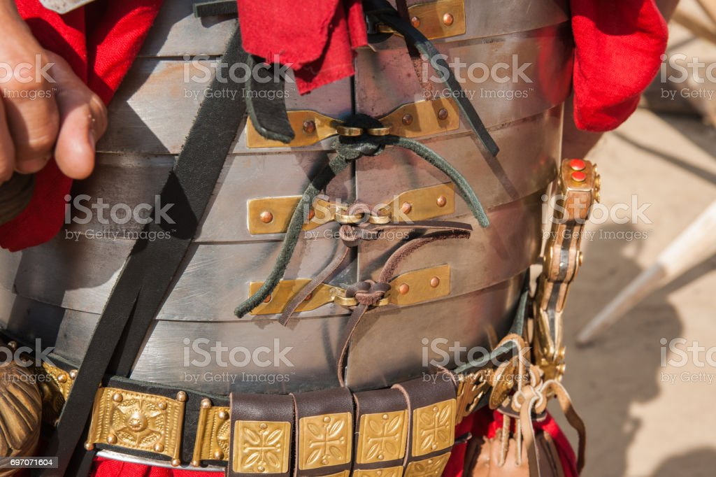 Fasteners of a Roman body armor stock photo