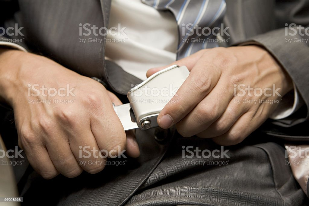 Fastening seatbelt stock photo