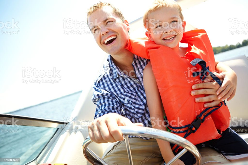 Faster, dad! stock photo