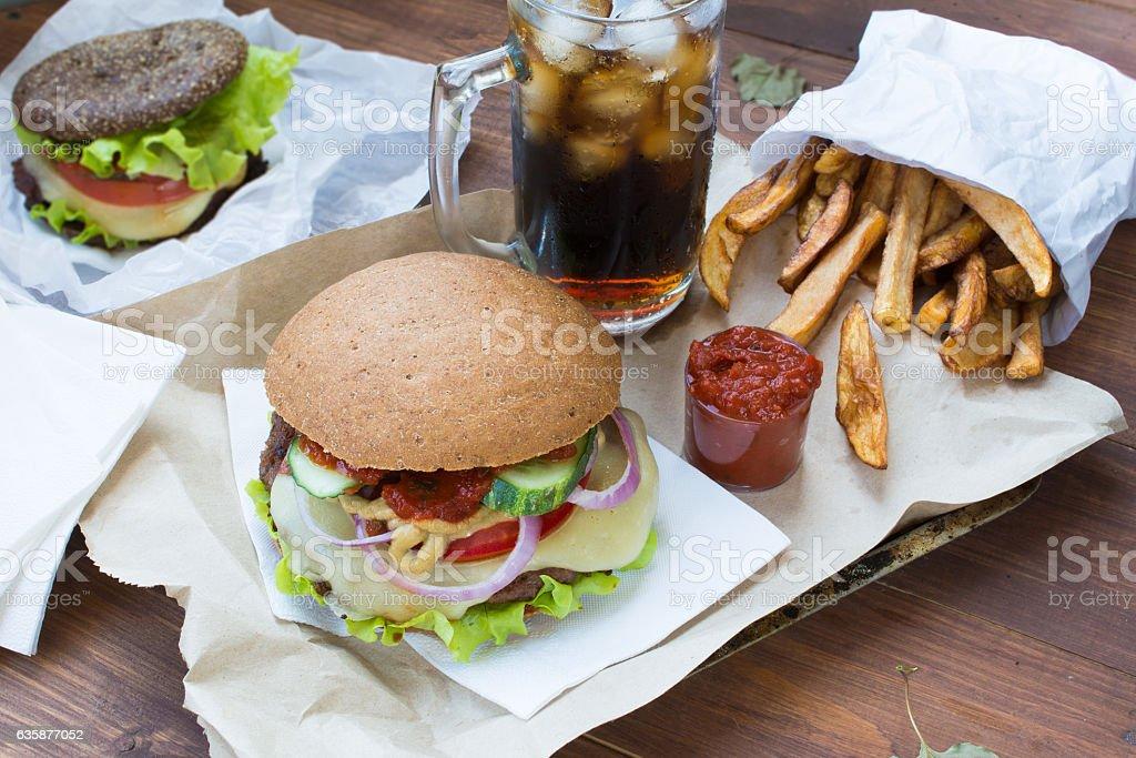 Fastfood - gamburger, fries and drink stock photo