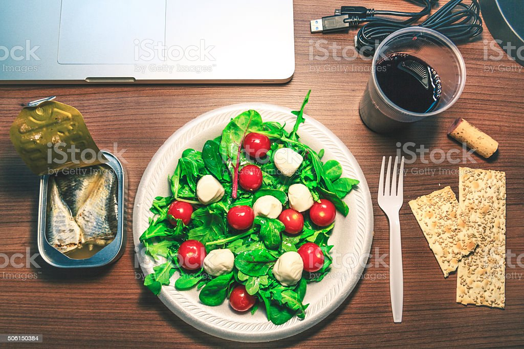 Fast-Healthy Lunch On Desktop stock photo