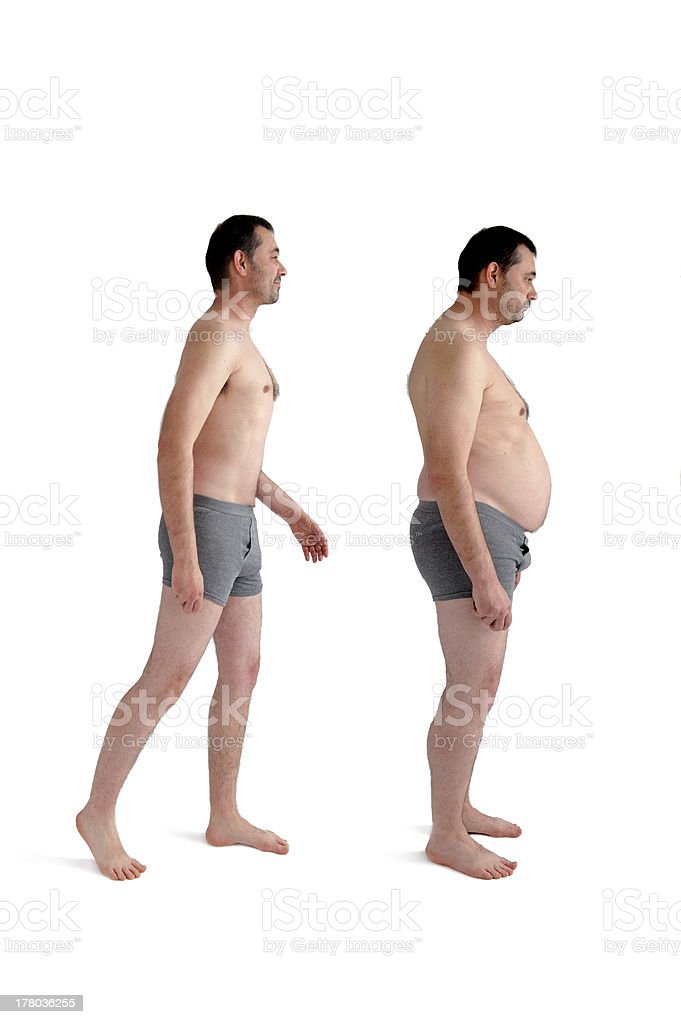 fat and slim version of the same man stock photo