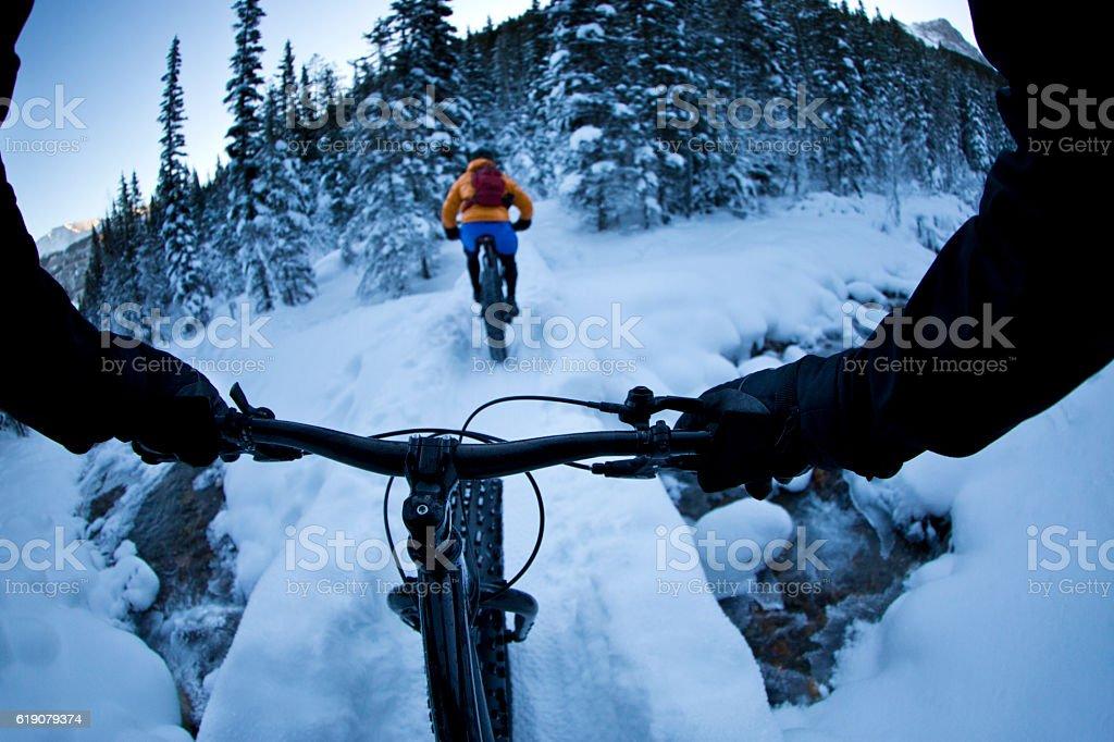 Fat Bike Winter Snow Ride stock photo
