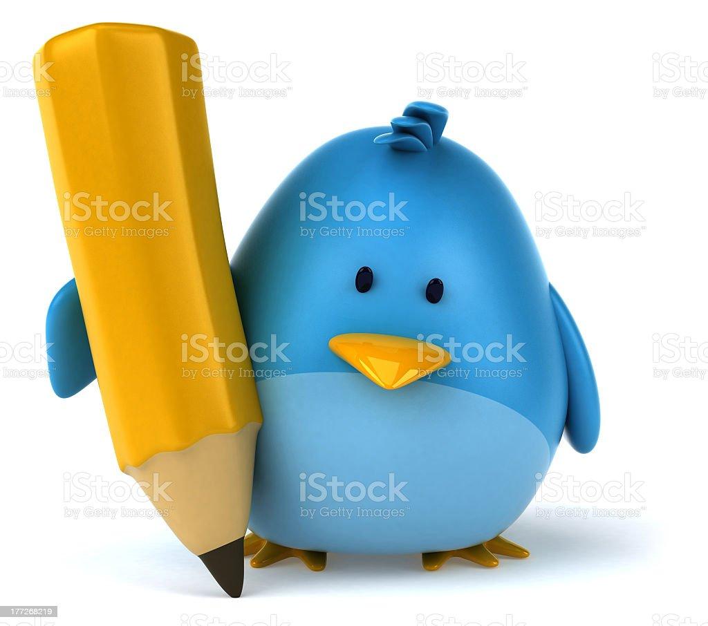 Fat blue bird holding a tall pencil stock photo