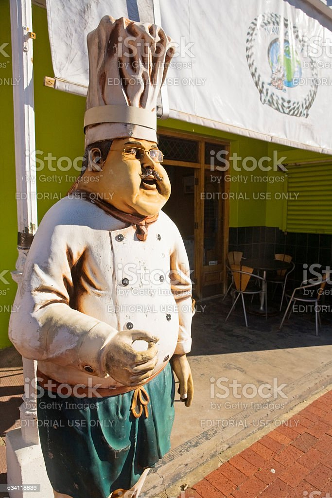 Fat chef caricature restaurant sign Simon's Town, South Africa stock photo
