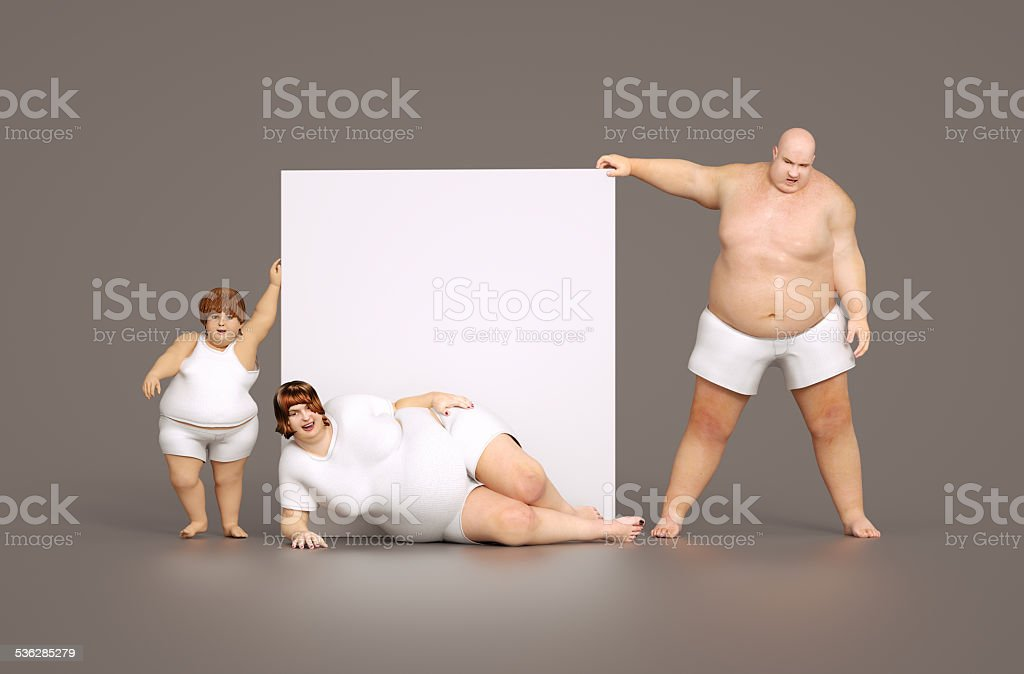 Fat family with empty sign stock photo
