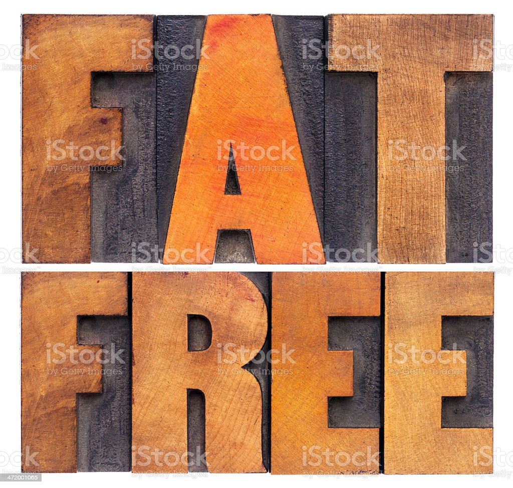 fat  free words in wood type stock photo