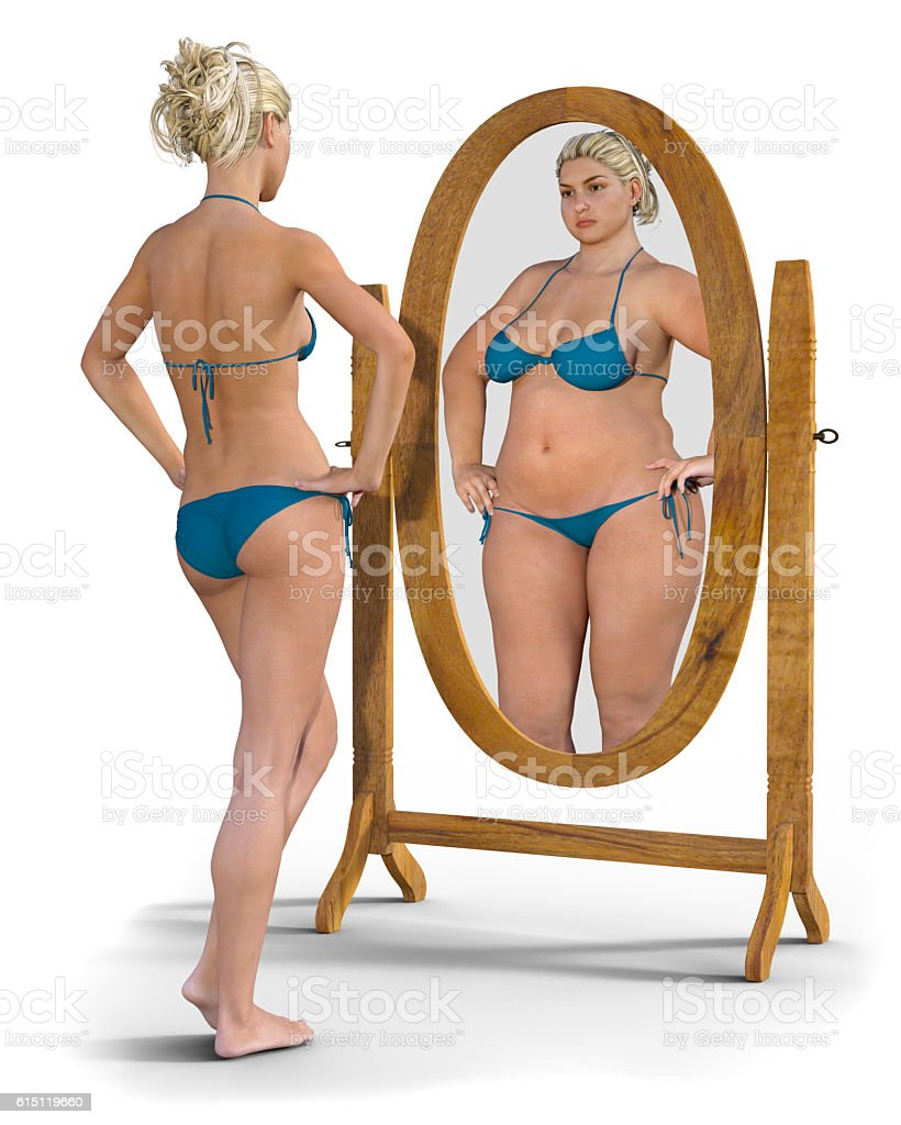 Fat Girl in the Mirror stock photo