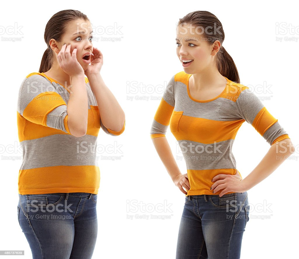 Fat girl standing in front of thin one stock photo