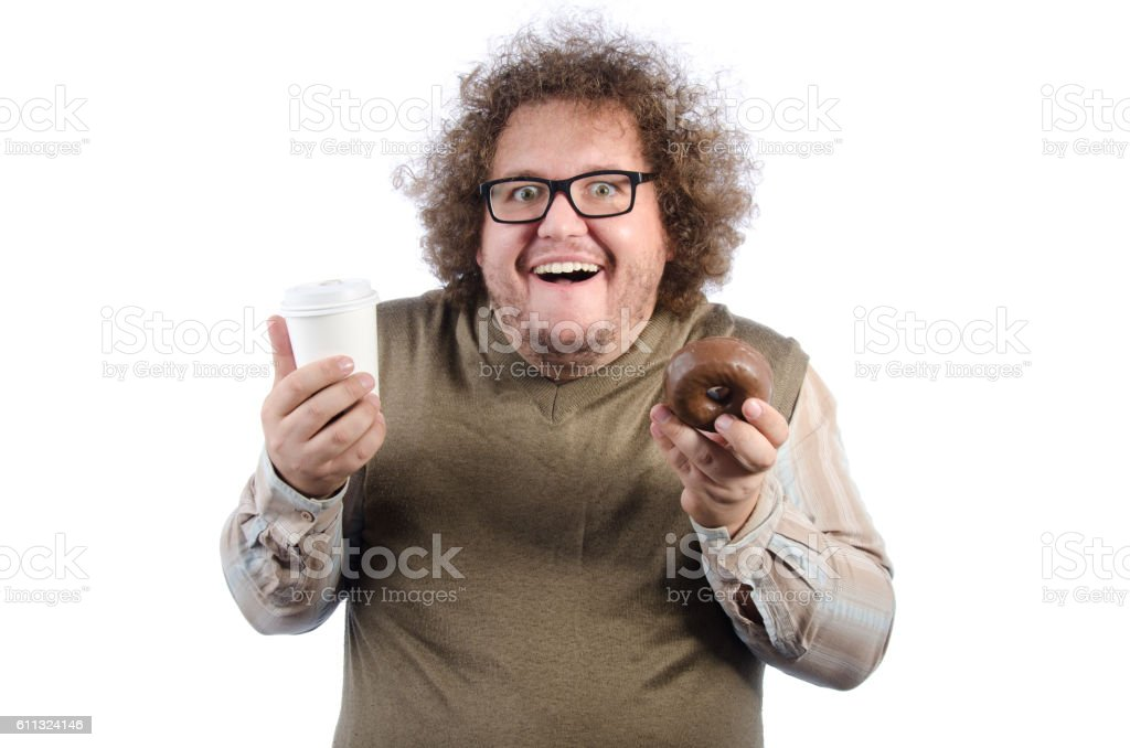 Fat guy with a coffee and a donut. stock photo
