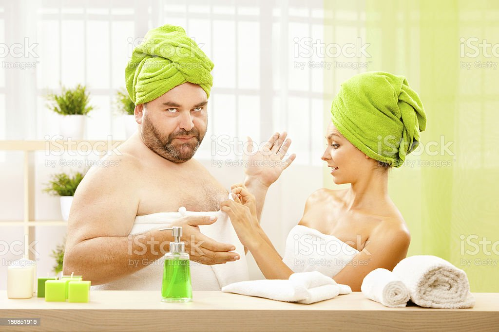 fat man care talk with beautiful girl at health center royalty-free stock photo