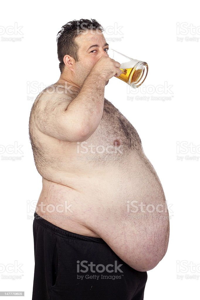 Fat man drinking a jar of beer royalty-free stock photo