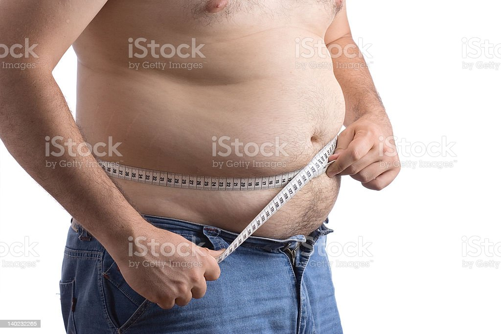 Fat man holding a measurement tape royalty-free stock photo