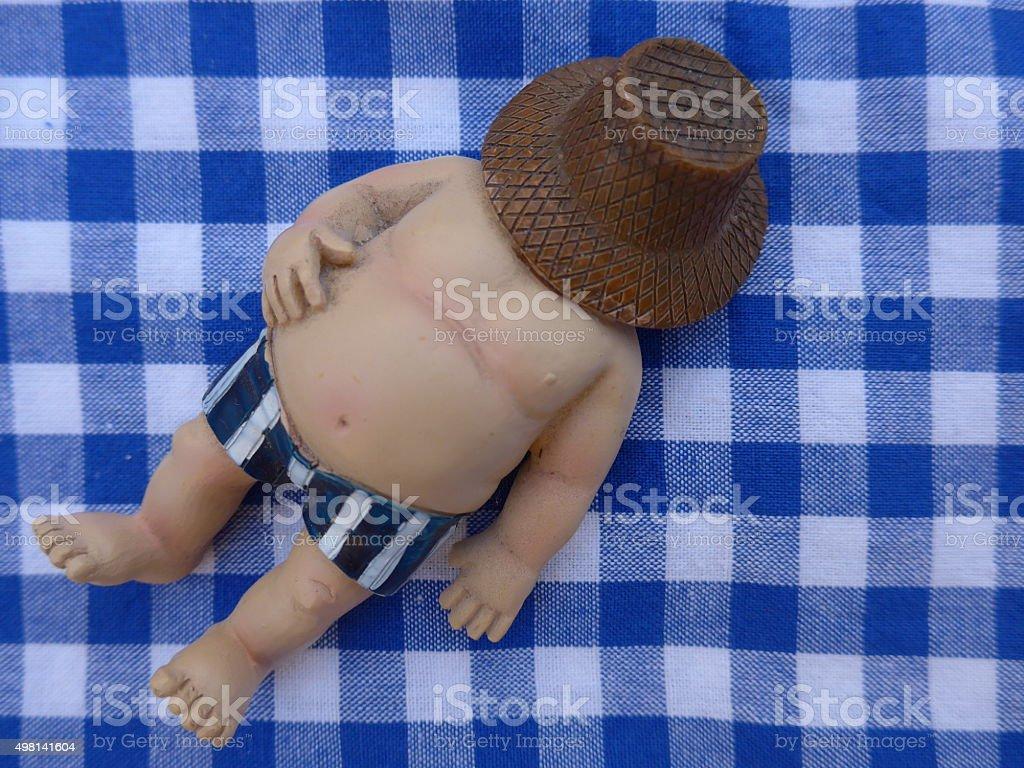 Fat man se encuentra en una toalla de cuadros azules: Bild foto de stock libre de derechos