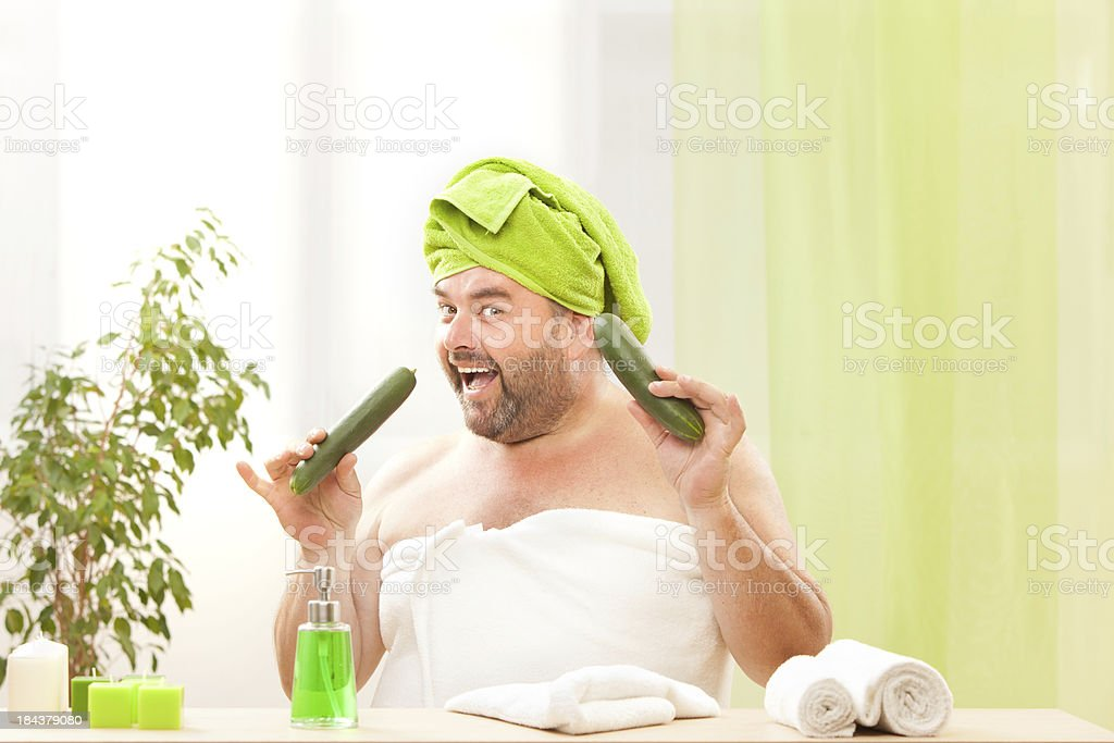 fat man with towel at health center smile stock photo