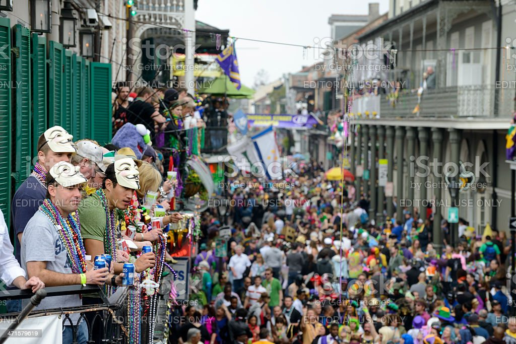 Fat Tuesday crowds on Bourbon street - beer and beads royalty-free stock photo