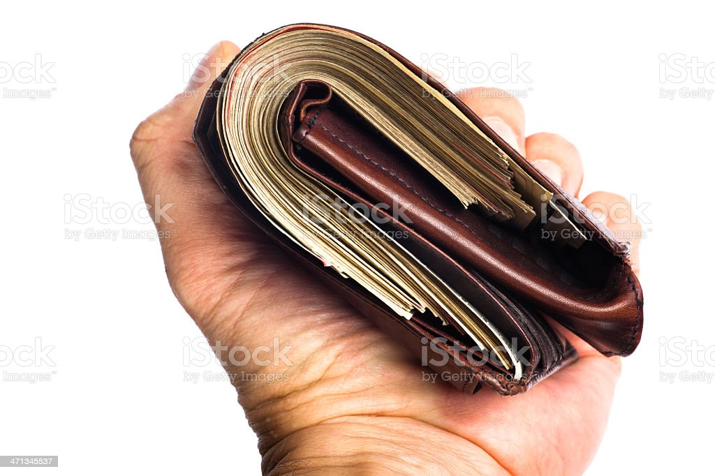 Fat Wallet in Hand royalty-free stock photo