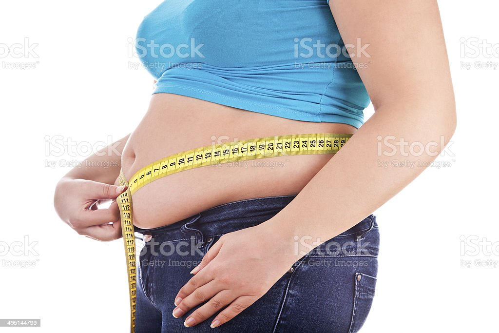 Fat womanman holding a measurement tape stock photo