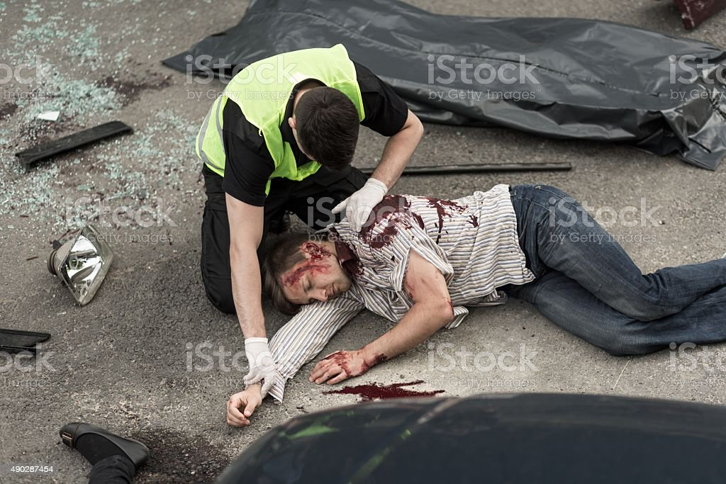 Fatal accident on the road stock photo