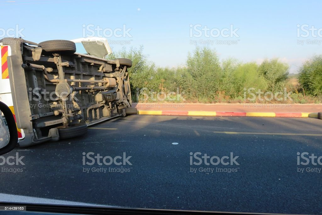 Fatal car accident stock photo