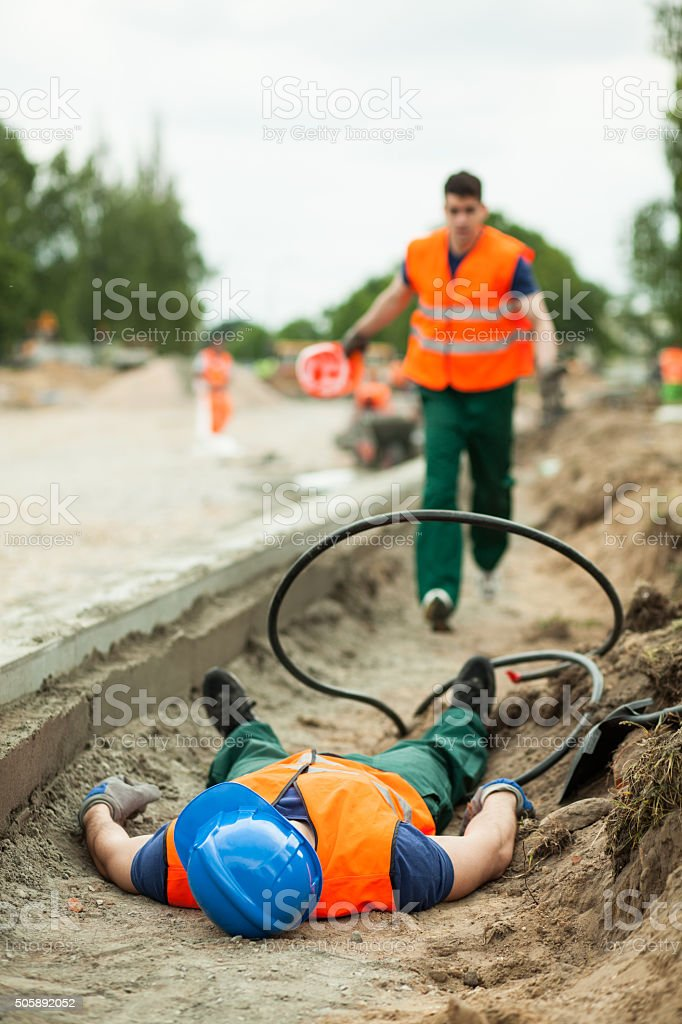Fatal injury in the workplace stock photo