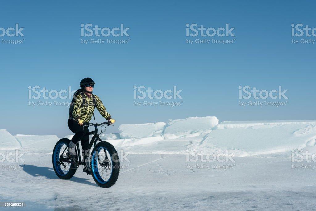 Fatbike (fat bike or fat-tire bike) stock photo