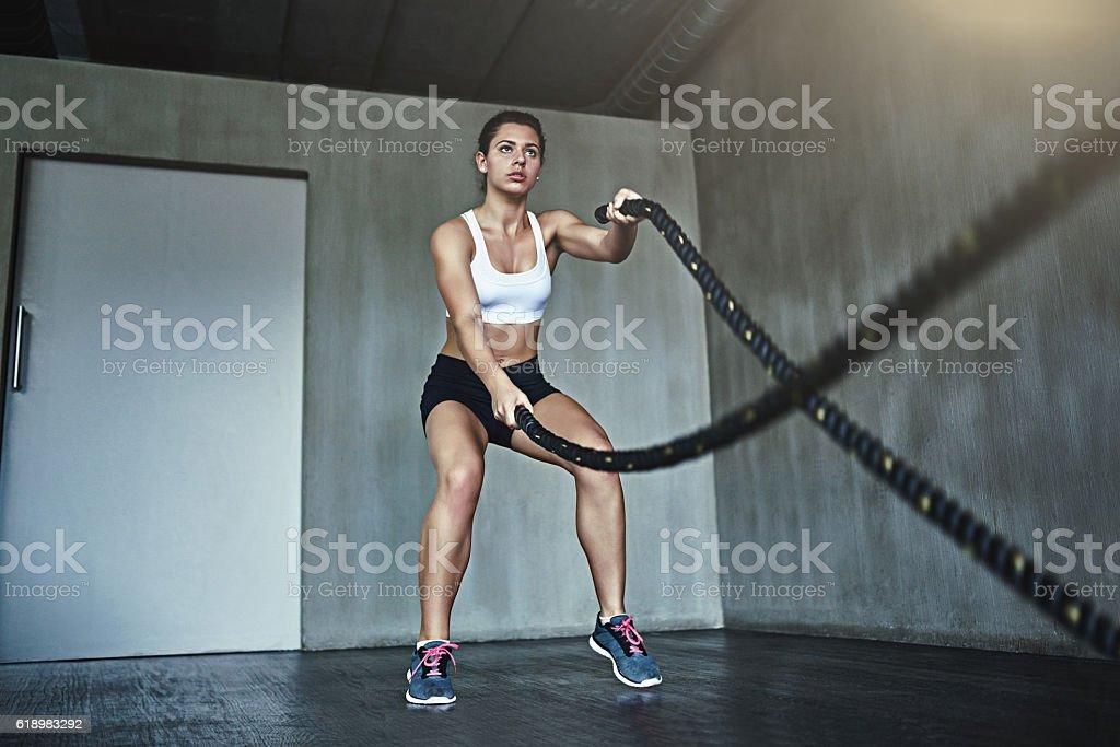 Fat-burning, body building battle ropes stock photo