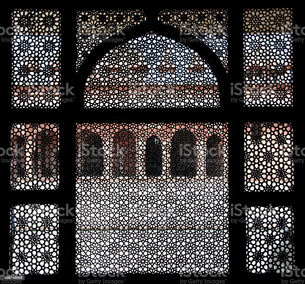 fatehpur sikri seen through a window stock photo