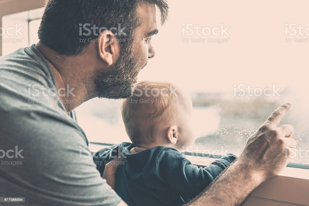 Father and Baby Boy at Niagara Falls stock photo