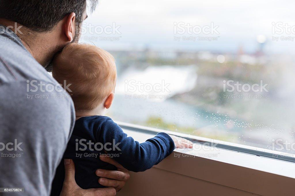 Father and Baby Boy at Niagara Falls stock photo