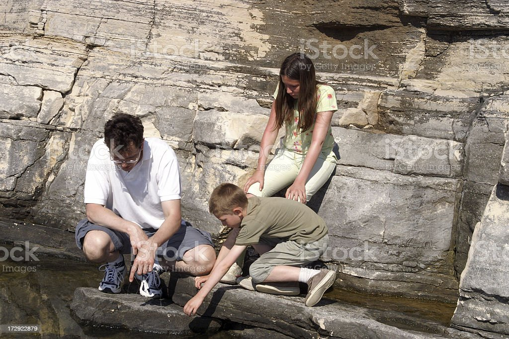 father and children playing on beach royalty-free stock photo