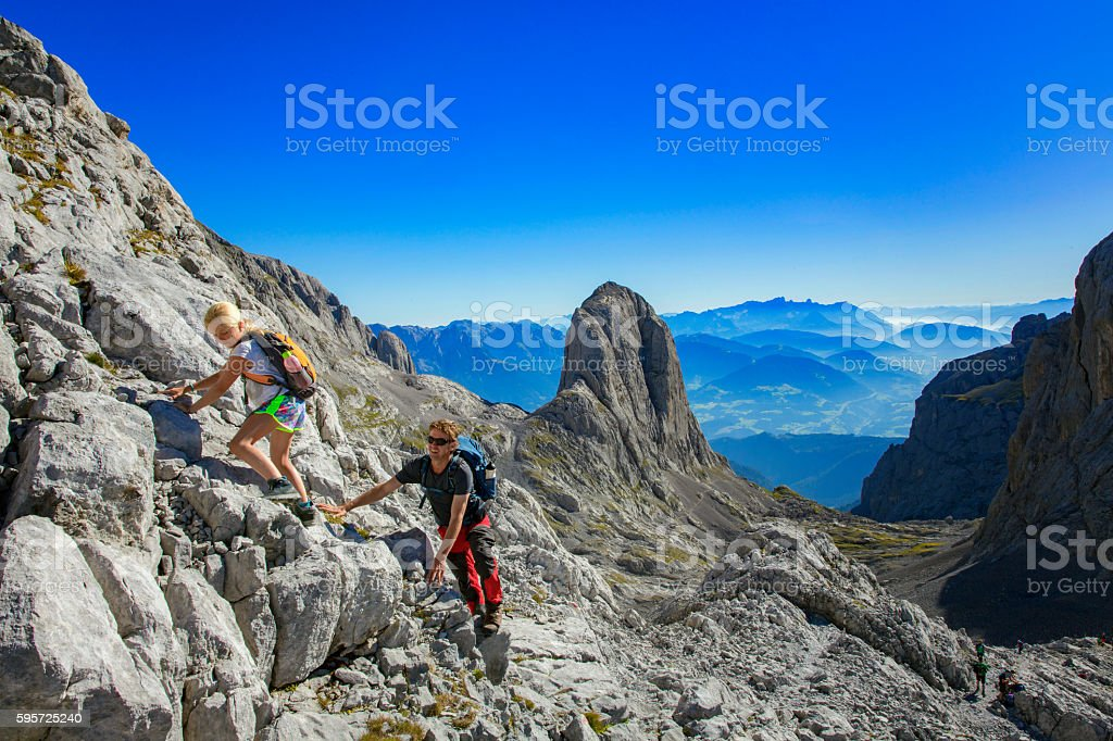 Father and Daughter are Hiking in Alps at  Hochkönig stock photo