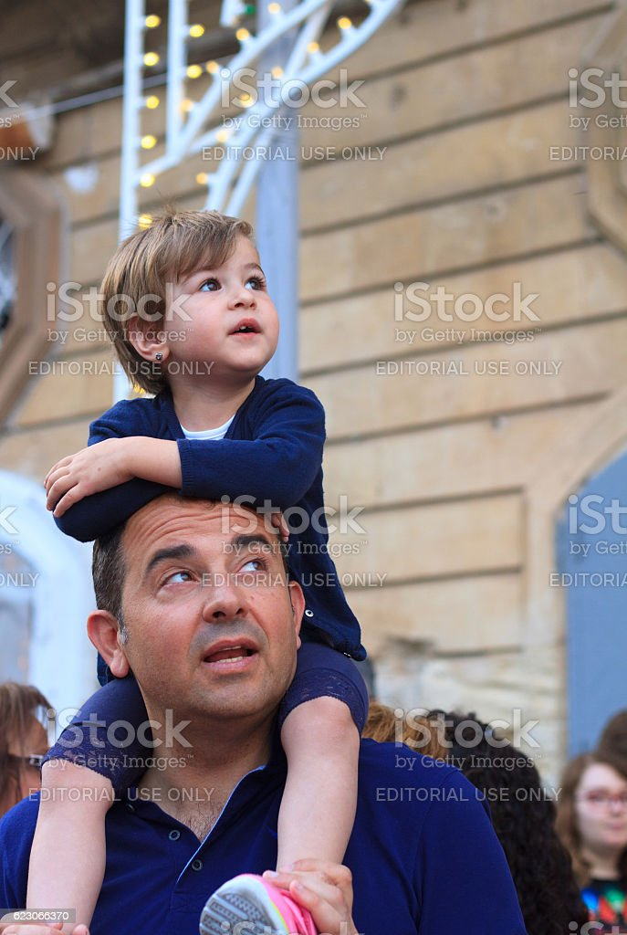 Father and Daughter at Celebration of Saint, Ragusa Ibla, Sicily stock photo