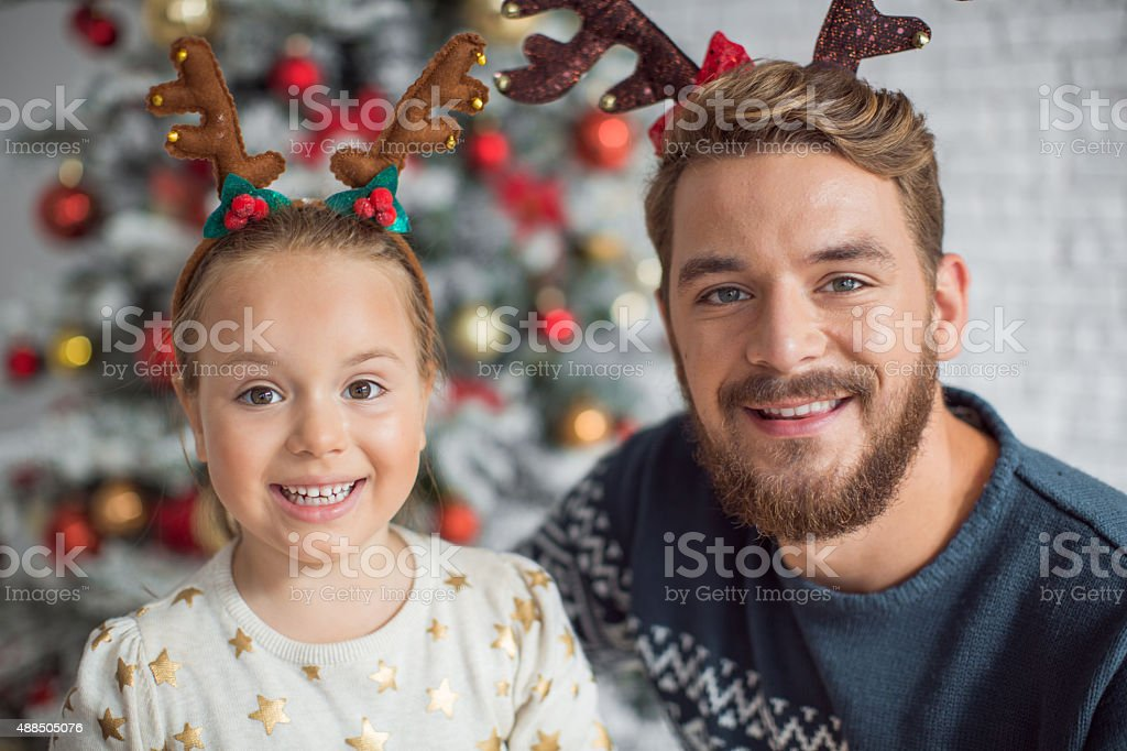 Father and daughter christmas three. stock photo