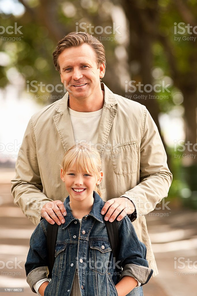 Father and daughter enjoying at the park royalty-free stock photo