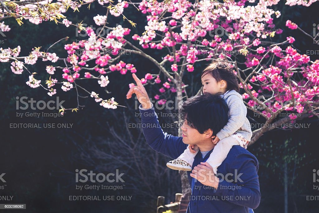Father and Daughter enjoying with Flower stock photo