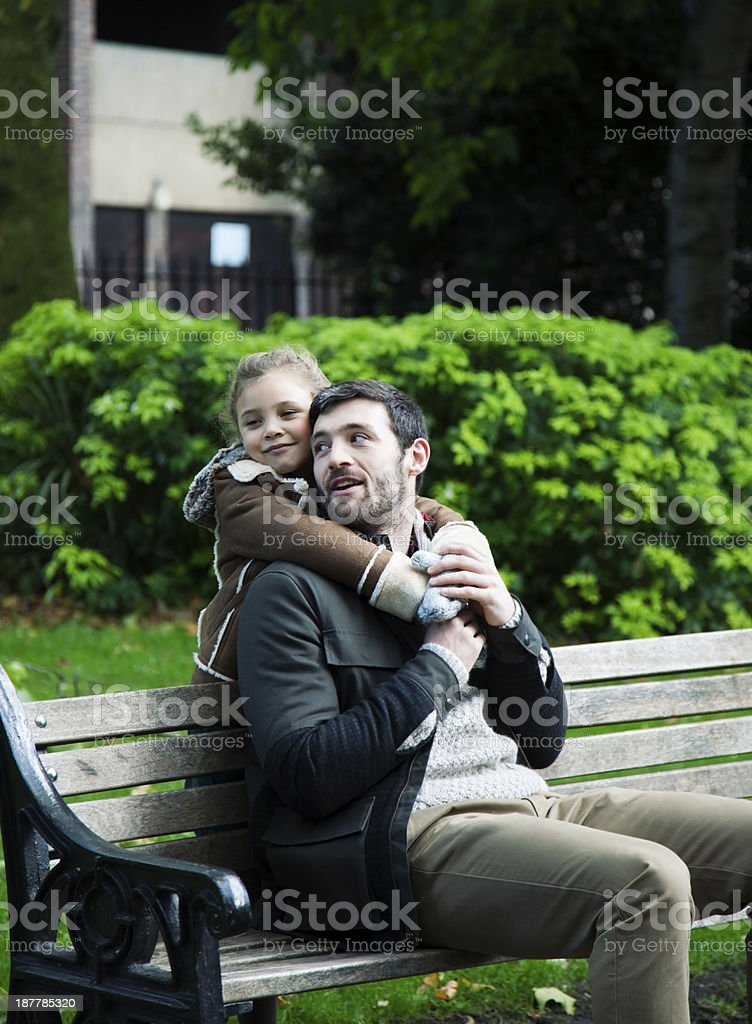 Father and Daughter Family hug stock photo