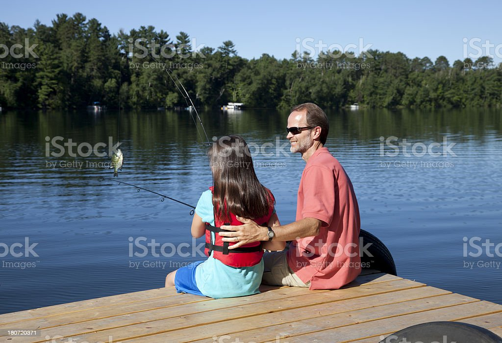 Father and daughter Fishing royalty-free stock photo
