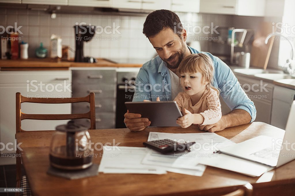 Father and daughter having fun stock photo