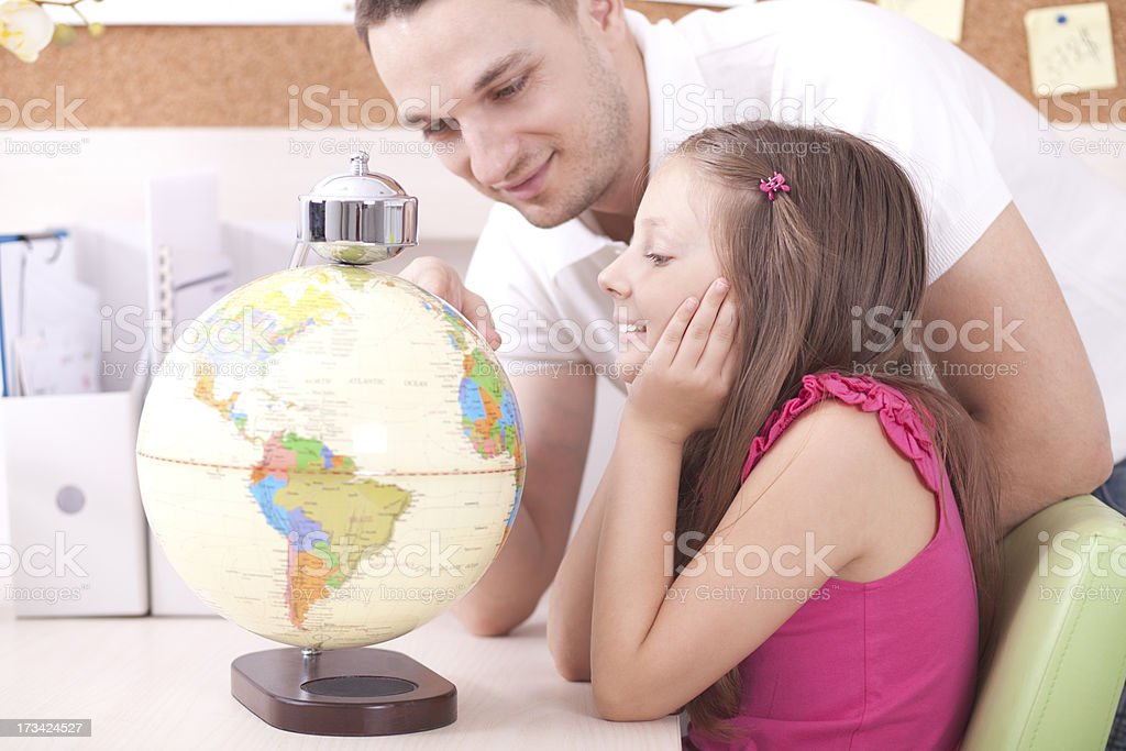 Father and daughter learning. royalty-free stock photo