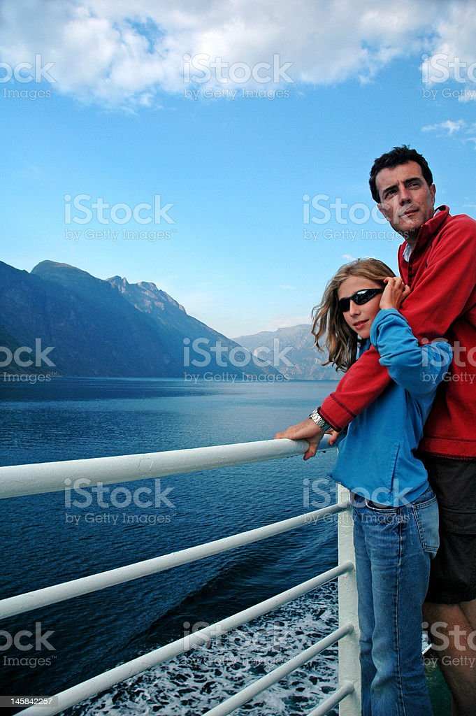 father and daughter on ferry royalty-free stock photo