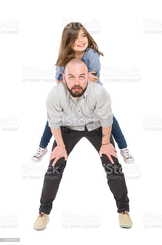 Father and daughter on white background stock photo
