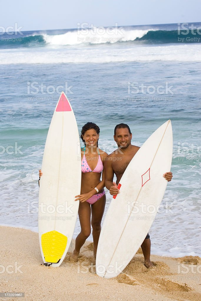 Father and Daughter Surfing royalty-free stock photo