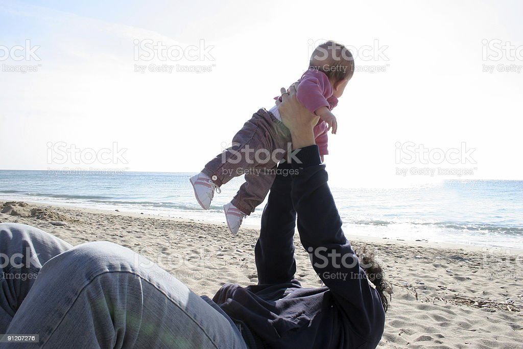 father and daughter to the beach royalty-free stock photo