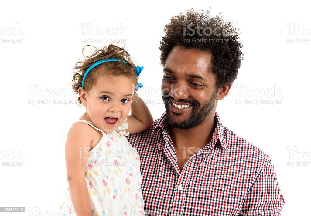 Father and daughter together isolated on white background. stock photo