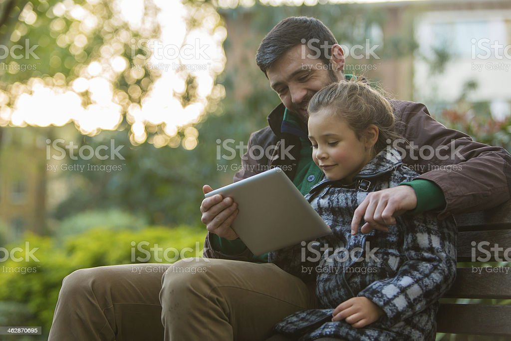 Father and Daughter With Tablet Computer royalty-free stock photo