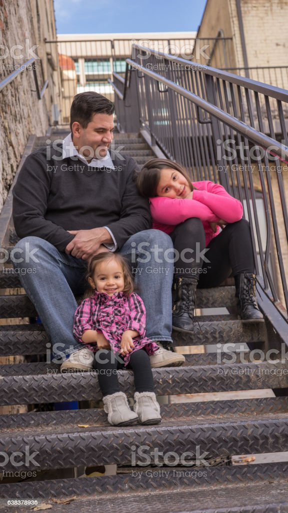 Father and Daughters stock photo