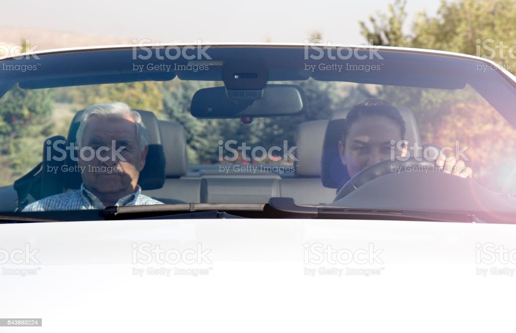 Father and Daugther in Convertable stock photo