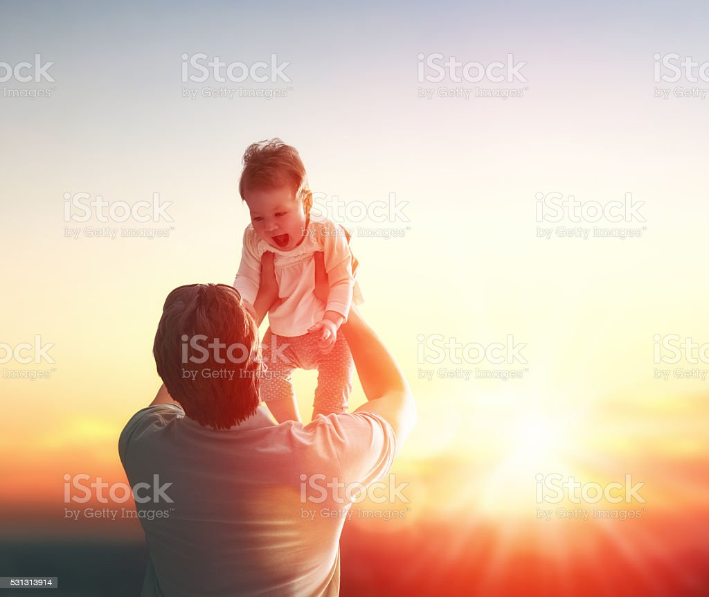 Father and his baby stock photo