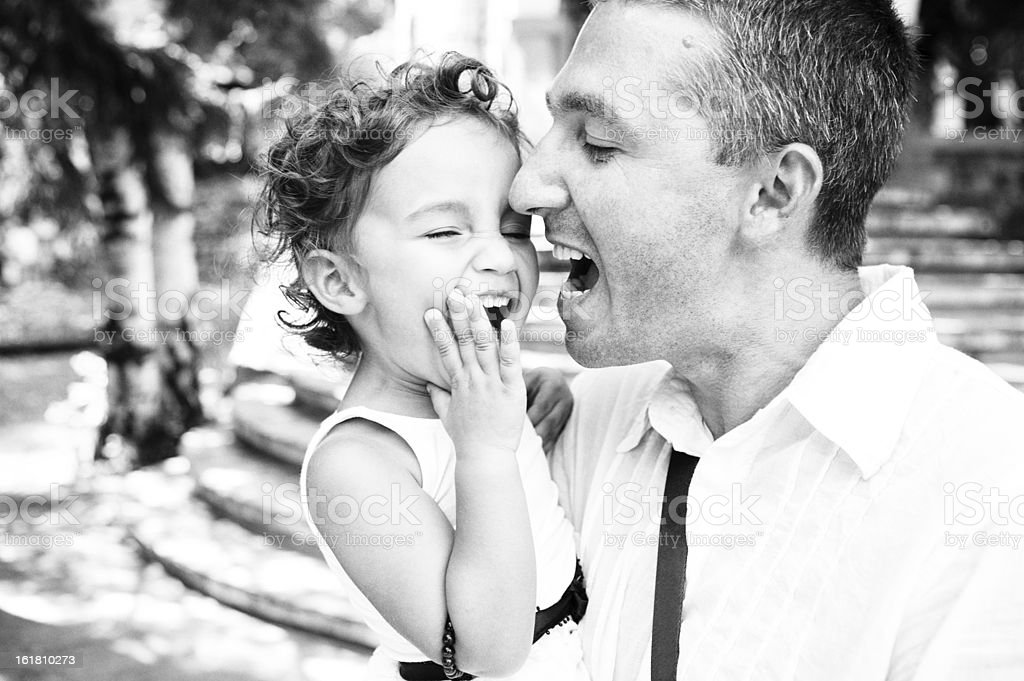 Father and his little daughter yelling from joy royalty-free stock photo